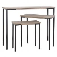 Pittsburgh Set 3 Console Med Small Side Table Oak Veneer