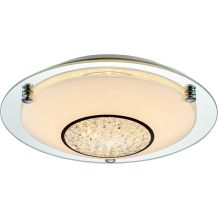 Ezra IP44 LED Flush Small Frosted Glass and Crystal