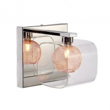 Bron Single Wall Light Polished Chrome and Copper
