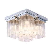Ezra 4 Light IP44 Semi Flush Square Glass Rods