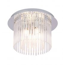 Ezra 4 Light IP44 Semi Flush Glass Rods