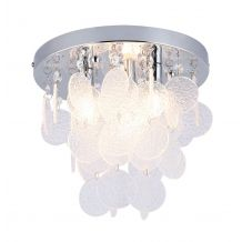Ezra 3 Light IP44 Semi Flush with Glass Drops