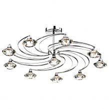 Luther 10 Lighting Semi Flush complete with Crystal Glass Polished Chrome