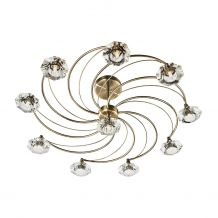 Luther 10 Lighting Semi Flush complete with Crystal Glass Antique Brass